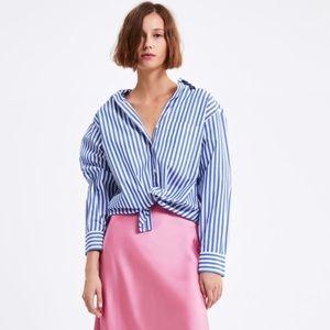 NWT Zara striped poplin top